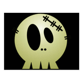CUTE PATCHY SKULL - YELLOW POSTCARD