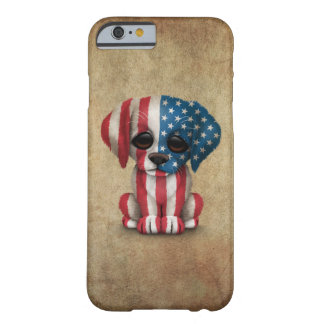 Cute Patriotic American Flag Puppy Dog, Rough Barely There iPhone 6 Case