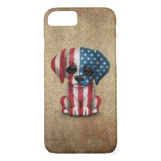 Cute Patriotic American Flag Puppy Dog, Rough iPhone 8/7 Case