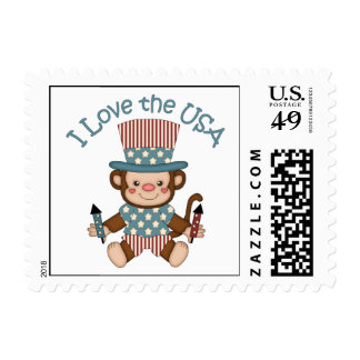 Cute Patriotic and 4th of July Monkey Tees, Gifts Postage Stamp