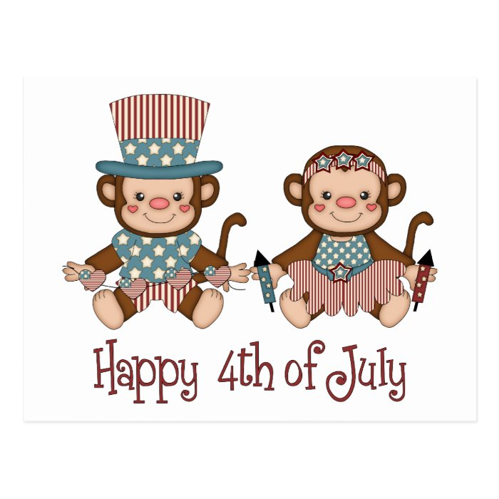 Cute Patriotic and 4th of July Monkey Tees, Gifts Postcard