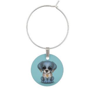 Cute Patriotic Argentinian Flag Puppy Dog, Blue Wine Charm
