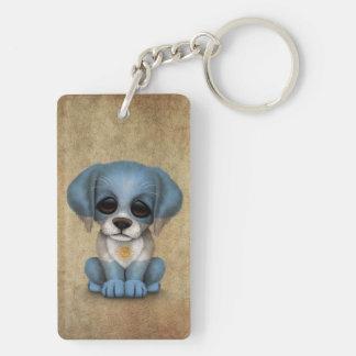 Cute Patriotic Argentinian Flag Puppy Dog, Rough Keychain