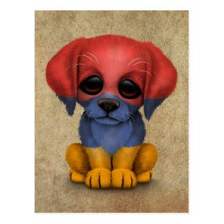 Cute Patriotic Armenian Flag Puppy Dog, Rough Postcard