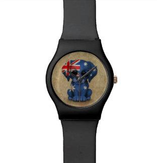 Cute Patriotic Australian Flag Puppy Dog, Rough Wristwatch