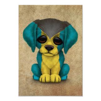 Cute Patriotic Bahamas Flag Puppy Dog, Rough Card