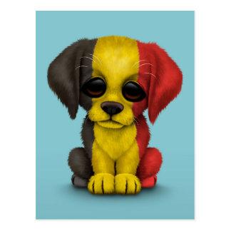 Cute Patriotic Belgian Flag Puppy Dog, Blue Postcard