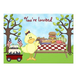 Cute Patriotic Bird Picnic Birthday Invite Girls