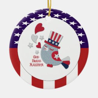 Cute Patriotic Bird Tweets God Bless America Ceramic Ornament