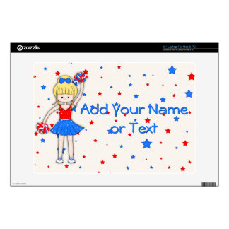 "Cute Patriotic Blonde Cheerleader Girl Cartoon 13"" Laptop Skin"