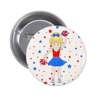 Cute Patriotic Blonde Cheerleader Girl Cartoon Pinback Button