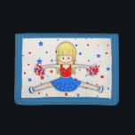 """Cute Patriotic Blonde Cheerleader Girl Cartoon Tri-fold Wallet<br><div class=""""desc"""">A super colorful and patriotic American acrobatics themed design for all cheerleaders and little girls whom aspire to cheerleading. A cute cartoon girl in a red, white and blue with stars cheerleader&#39;s uniform and long blonde hair in a bun, stands in a fun cheer pose from her dance routine, holding...</div>"""