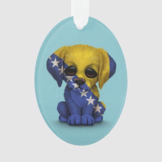 Cute Patriotic Bosnia - Herzegovina Puppy, Blue Ornament