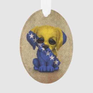 Cute Patriotic Bosnia - Herzegovina Puppy, Rough Ornament