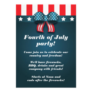 Cute Patriotic Bow 4th of July Party Invitations