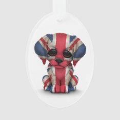 Cute Patriotic British Flag Puppy Dog, White Ornament at Zazzle