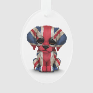 Cute Patriotic British Flag Puppy Dog, White Ornament