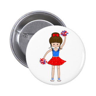 Cute Patriotic Brunette Cheerleader Girl Cartoon Pinback Button