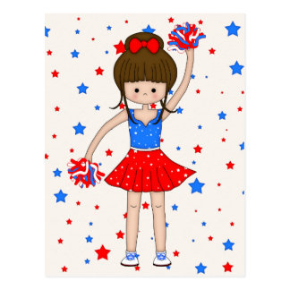 Cute Patriotic Brunette Cheerleader Girl Cartoon Postcard