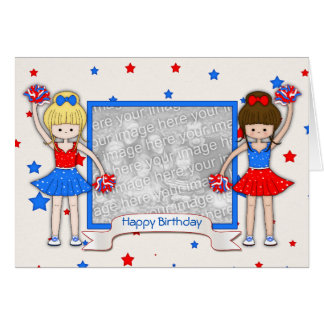 Cute Patriotic Cheerleaders Birthday Card