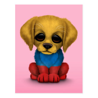 Cute Patriotic Colombian Flag Puppy Dog, Pink Postcard