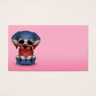 Cute Patriotic Costa Rican Flag Puppy Dog, Pink Business Card