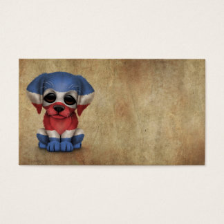 Cute Patriotic Costa Rican Flag Puppy Dog, Rough Business Card