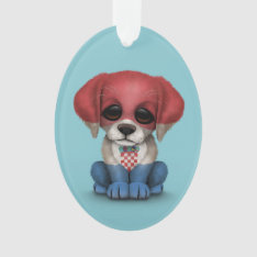 Cute Patriotic Croatian Flag Puppy Dog, Blue Ornament at Zazzle