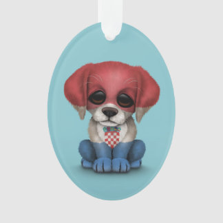 Cute Patriotic Croatian Flag Puppy Dog, Blue Ornament