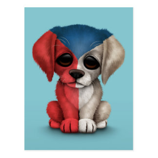 Cute Patriotic Czech Republic Flag Puppy Dog, Blue Postcard