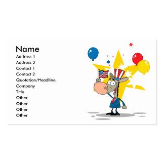 cute patriotic democratic donkey silly cartoon business card