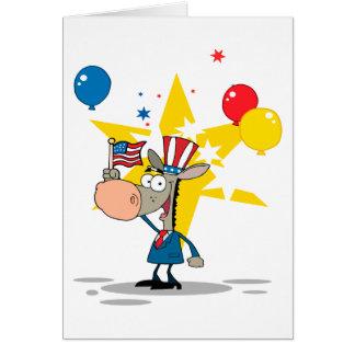 cute patriotic democratic donkey silly cartoon card
