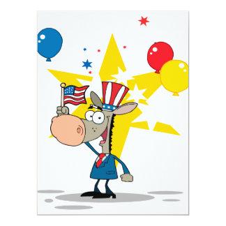 cute patriotic democratic donkey silly cartoon 6.5x8.75 paper invitation card