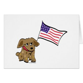Cute Patriotic Dog Illustration Cards