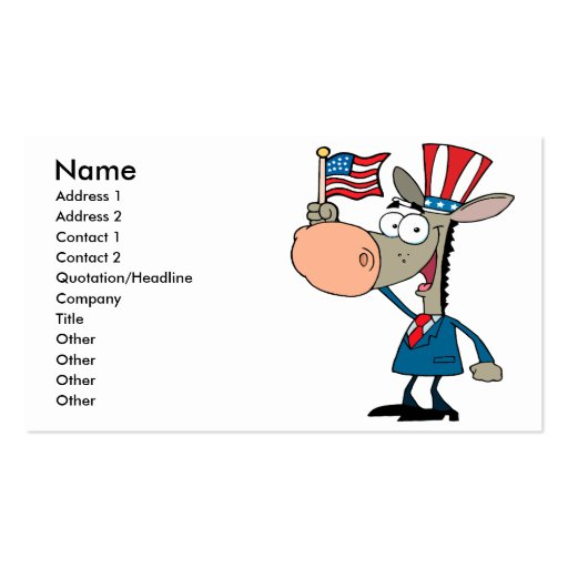 cute patriotic donkey cartoon democrat business card