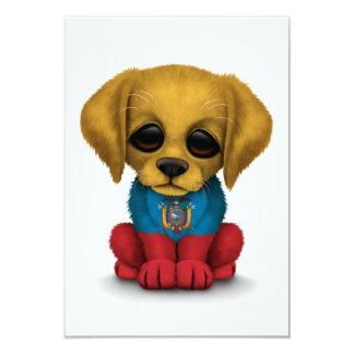 Cute Patriotic Ecuadorian Flag Puppy Dog, White 3.5x5 Paper Invitation Card