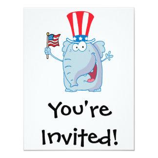 cute patriotic elephant cartoon republican card