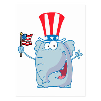 cute patriotic elephant cartoon republican postcard
