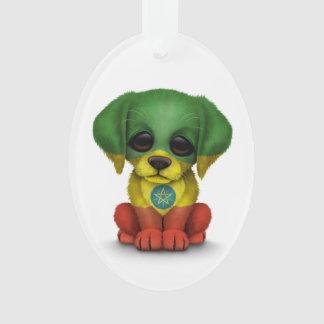 Cute Patriotic Ethiopian Flag Puppy Dog, White Ornament