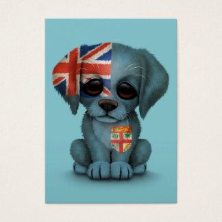 Cute Patriotic Fiji Flag Puppy Dog, Blue Business Card