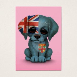 Cute Patriotic Fiji Flag Puppy Dog, Pink Business Card