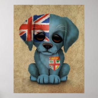 Cute Patriotic Fiji Flag Puppy Dog, Rough Poster