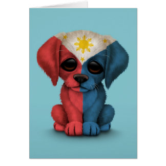 Cute Patriotic Filipino Flag Puppy Dog, Blue Card
