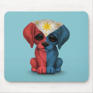 Cute Patriotic Filipino Flag Puppy Dog, Blue Mouse Pad