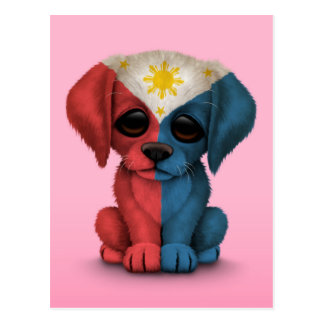 Cute Patriotic Filipino Flag Puppy Dog, Pink Postcard