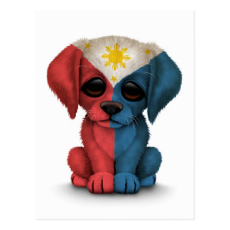 Cute Patriotic Filipino Flag Puppy Dog, White Postcard