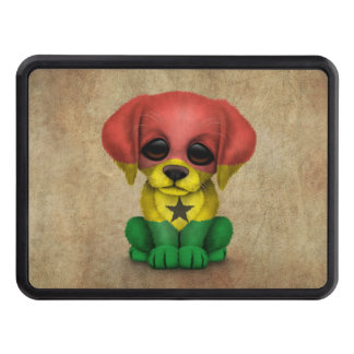 Cute Patriotic Ghana Flag Puppy Dog, Rough Tow Hitch Cover