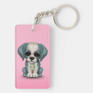 Cute Patriotic Guatemalan Flag Puppy Dog, Pink Keychain