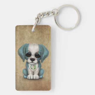 Cute Patriotic Guatemalan Flag Puppy Dog, Rough Rectangle Acrylic Keychain