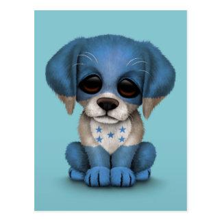 Cute Patriotic Honduran Flag Puppy Dog, Blue Postcard